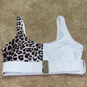Cheetah and white bikini top